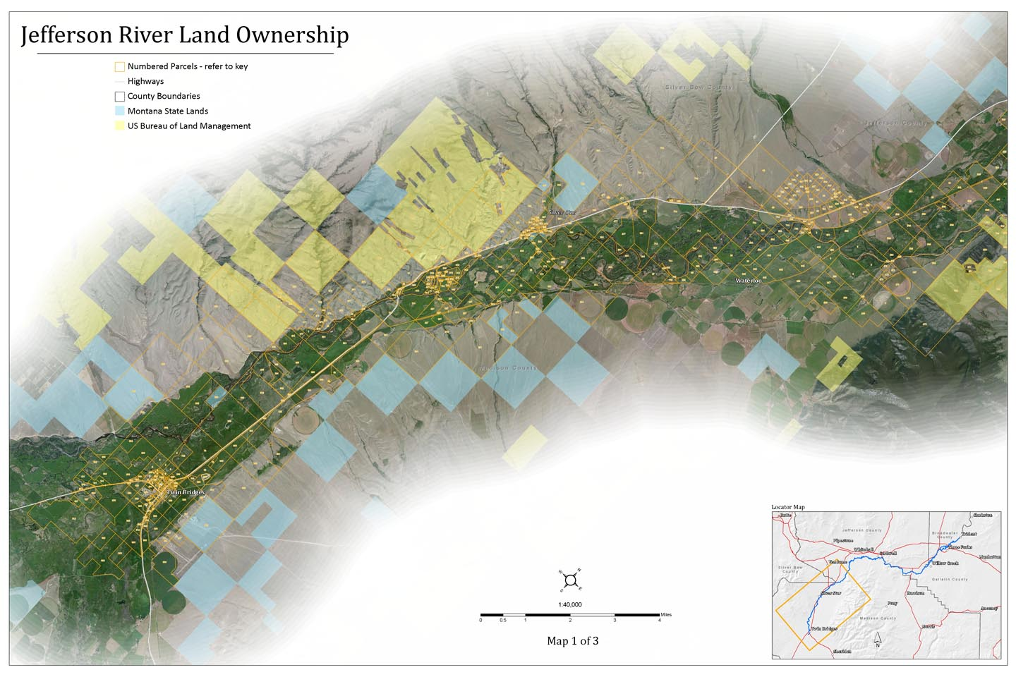 Upper Jefferson River Land Ownership Map, Montana.