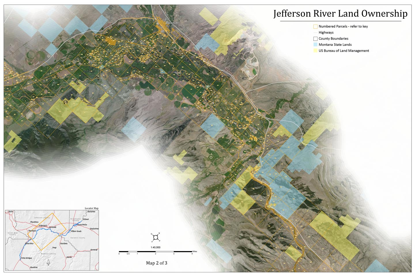 Middle Jefferson River Land Ownership Map, Montana.