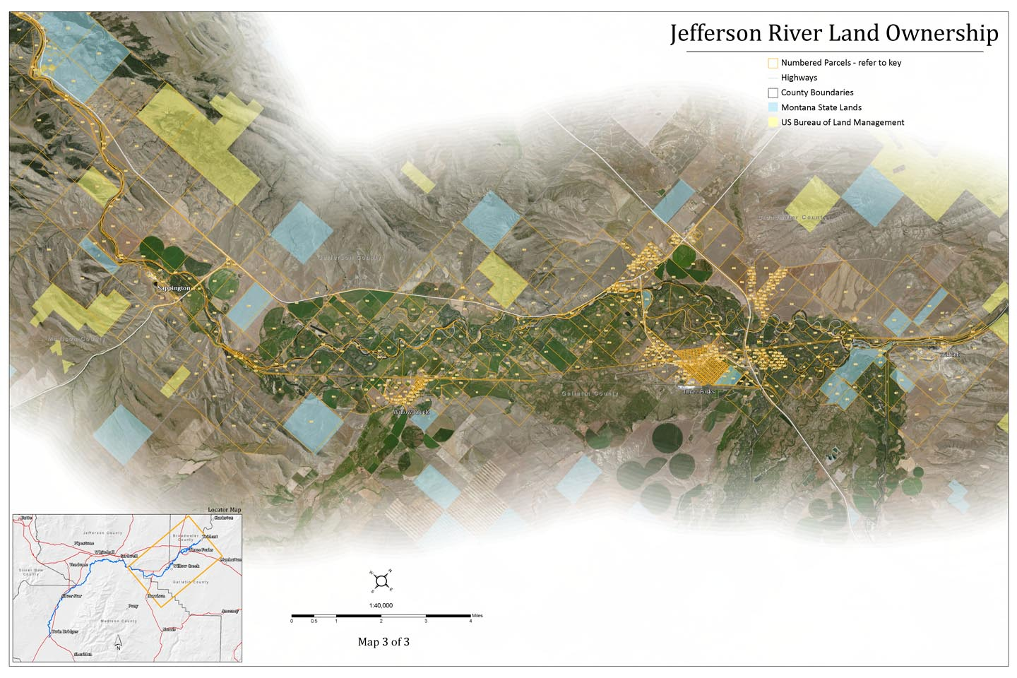 Lower Jefferson River Land Ownership Map, Montana.
