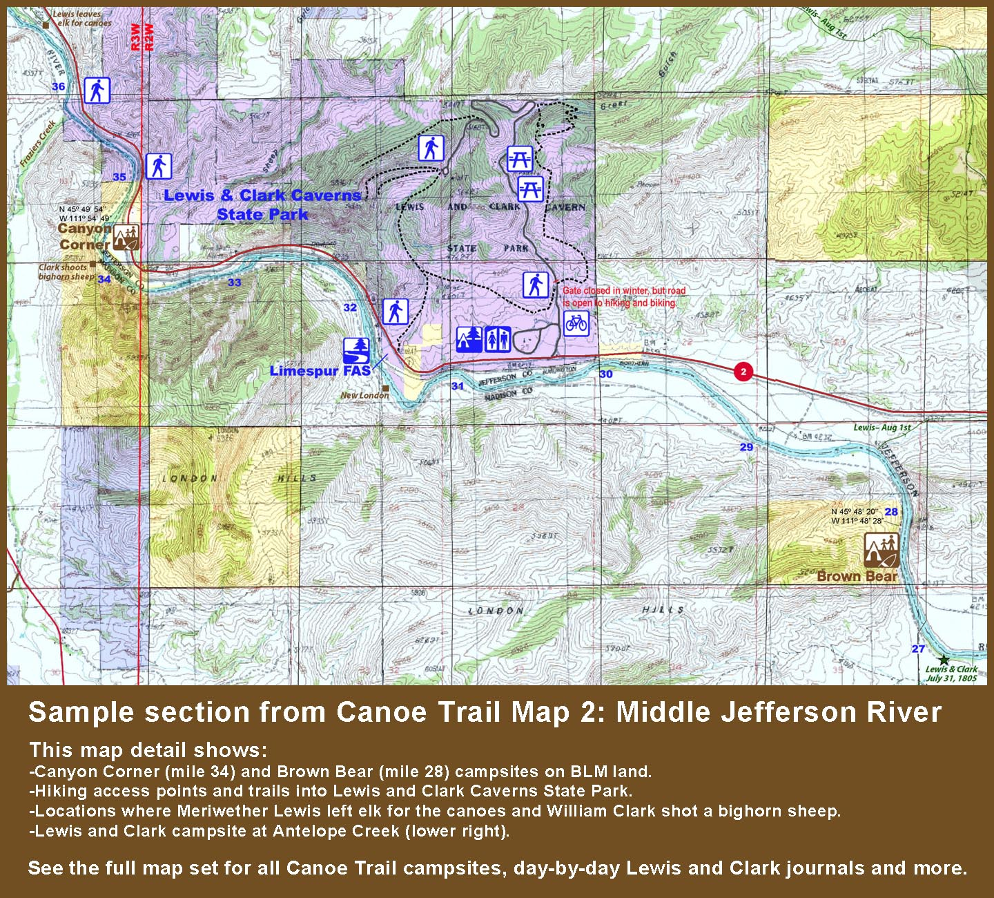 Madison River Montana Map.Jefferson River Canoe Trail Maps Conservation Recreation Lewis
