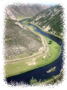 Canyon Corner aerial view, Jefferson River, MT.