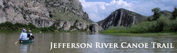 Jefferson River Canoe Trail river banner.